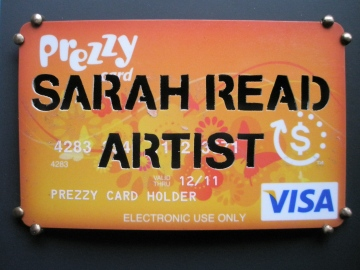 Artist badge from the Free Time (Sarah Read) toolkit by Jhana Millers, 2012 (Visa Prezzy card, bronze)